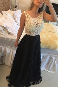 Glamorous Lace Scoop Sleeveless Side Zipper Beading and Lace Mother of Groom Dress in White And Black