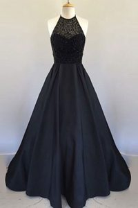 Best Halter Top Pleated Black Sleeveless Satin Zipper Mother of Bride Dresses for Prom and Party