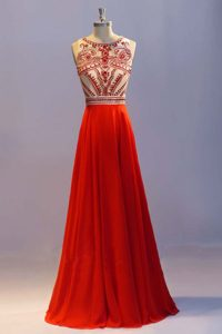 Pleated Floor Length Coral Red Mother Dresses Scoop Sleeveless Side Zipper