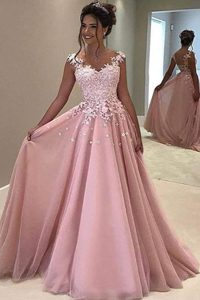 Customized With Train Zipper Mother Dresses Pink for Prom with Appliques Sweep Train