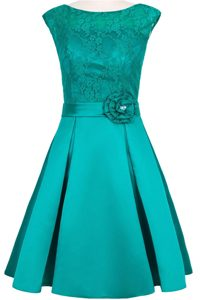Scoop Teal Cap Sleeves Taffeta and Lace Zipper Mother of Bride Dresses for Prom and Party
