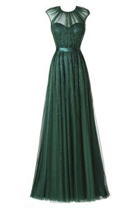 Comfortable Dark Green A-line Tulle Scoop Cap Sleeves Beading and Pleated Floor Length Zipper Mother of Groom Dress