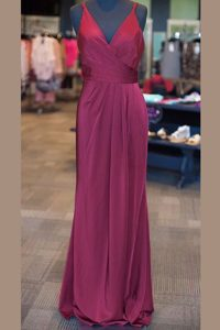 Floor Length Zipper Mother of Bride Dresses Burgundy for Prom with Ruching and Pleated