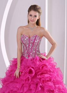 Designer Full Beaded Corset Quinceanera Dress with Fuchsia Ruffles