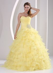 Sweetheart A-line Ruffle Layered Yellow Organza Quinceanera Dress