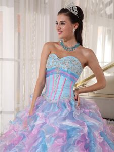 Multi-color Ball Gown Sweetheart Quinceanera Dress with Ruffles