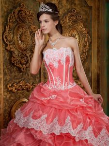Ruffled Lace Appliqued Hem Quinceanera Gowns in Watermelon