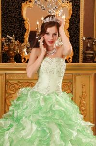 Two-toned Green Beaded Sweetheart Quinceanera Dress Ruffled