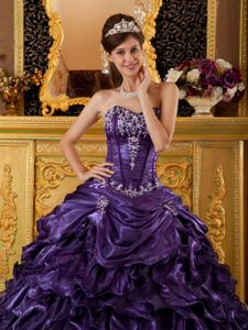 Dark Purple Sweetheart Ruffled Quinceanera Dress with Appliques