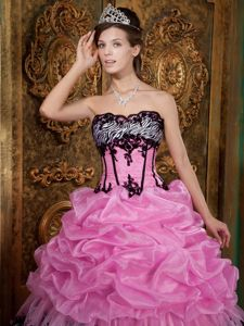 Strapless Pink and Zebra Quinceanera Dresses with Picks-Ups and Appliques