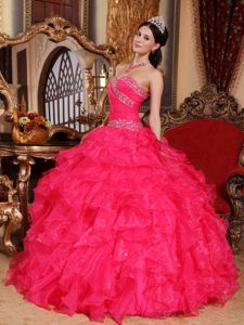 Beading Sweetheart Ruffled Hot Pink Dresses For a Quince