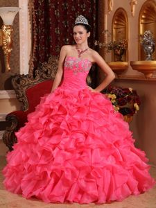 Pink Strapless Beading and Appliques Ruffled Quinceanera Dress