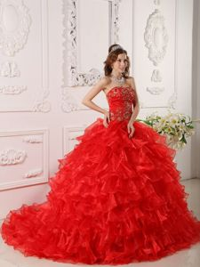 Embroidery Strapless Red Quinceanera Dress with Chapel Train
