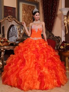 Orange Red Sweetheart Appliques and Beading Quinceanera Dress