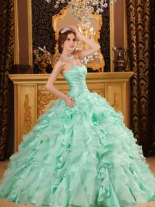 Sweetheart Floor-length Mint Colored Ruffles Quinceanera Gowns