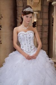Beading White Ruffled Ball Gown Sweetheart Quinceanera Dress