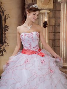 Ruffled Strapless Embroidery White Quinceanera Dresses Gowns