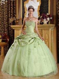 Floor-length Beading Strapless Quinceanera Dress in Light Green