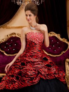 Red and Black Strapless Beading Zebra Dresses For a Quince on Sale