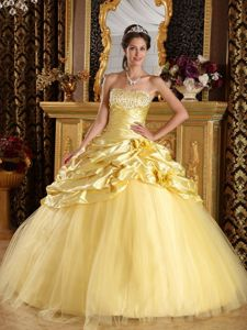 Beading Dress For Quinceanera Floor-length with Pick-up in Yellow
