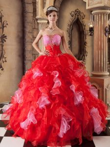 Red Ruffled Sweetheart Beading and Appliques Dresses For 15