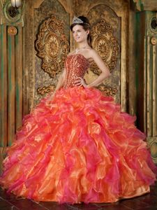 Strapless Beading and Ruffles Orange Red Quinceanera Gowns