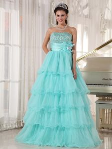Apple Green A-line Dresses for a Quince with Beading Ruffled Layers