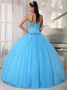 Blue Ball Gown Sweetheart Dresses for a Quince with Beading