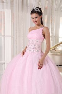 Ruched and Beaded One Shoulder Dresses for a Quince in Baby Pink