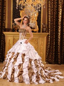 Leopard Print White Taffeta Dresses for a Quince with Brush Train