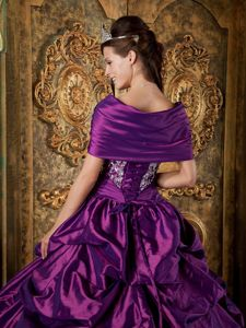 Pick ups and Appliques Accent Sweet Sixteen Dresses in Purple