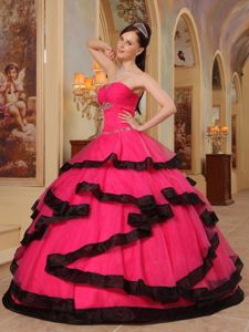 Beaded Coral Red Strapless Sweet Sixteen Dresses with Black Frills