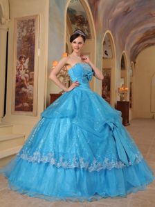 Sequined Blue Ball Gown Sweet 16 Dresses with Beading Bowknots