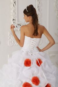 Beaded and Flowery White Sweet 16 Dresses with Court Train