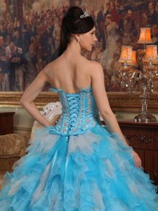 Appliques and Ruffles Accent Sweet 16 Dresses in Aqua Blue