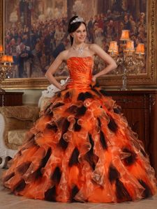 Beaded and Ruffled Organza Sweet 16 Dresses in Orange and Black