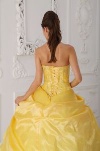Yellow and White Strapless Sweet 16 Dresses with Flowers Appliques