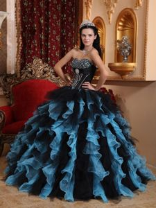 Blue and Black Sweetheart Sweet 15 Dresses with Beading Ruffles