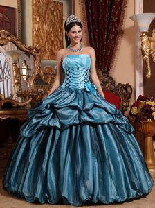 Blue and Black Ball Gown Sweet 15 Dresses with Pick ups and Flowers