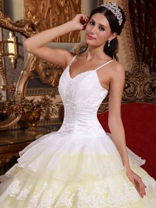 Appliqued White and Yellow Sweet 15 Dresses with Spaghetti Straps