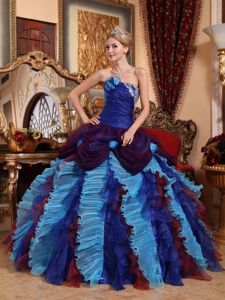 Beaded Colorful Sweet 15 Dresses with Ruffles and Hand Made Flowers