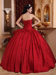New Arrival Strapless Beaded Quinceanera Dress in Wine Red