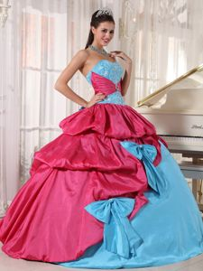 Bowknots and Pick ups Accent Quinceanera Gowns in Blue and Hot Pink