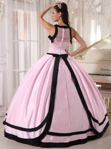 Baby Pink and Black Floor Length Bateau Taffeta Quinceanera Gowns