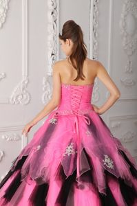 Black and Pink Tulle Quinceanera Gown with Beading and Ruffles
