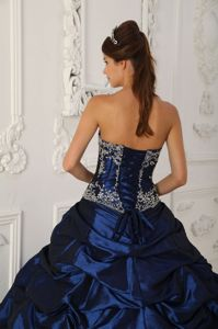 Royal Blue Court Train Quinceanera Gowns with Appliques Ruffles