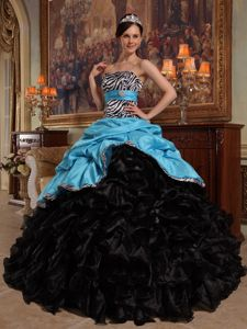 Blue and Black Quinceanera Gowns with Zebra Print and Pick ups