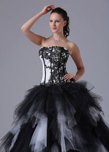 Black And White Asymmetrical Hem Embroidery Sweet 16 Dress