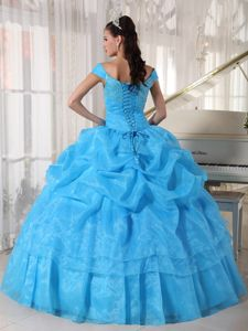 Low Price off The Shoulder Blue Beaded Dress for Quinceaneras