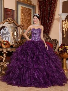 Customized Sweetheart Beaded Ruffled Purple Quinceanera Dress